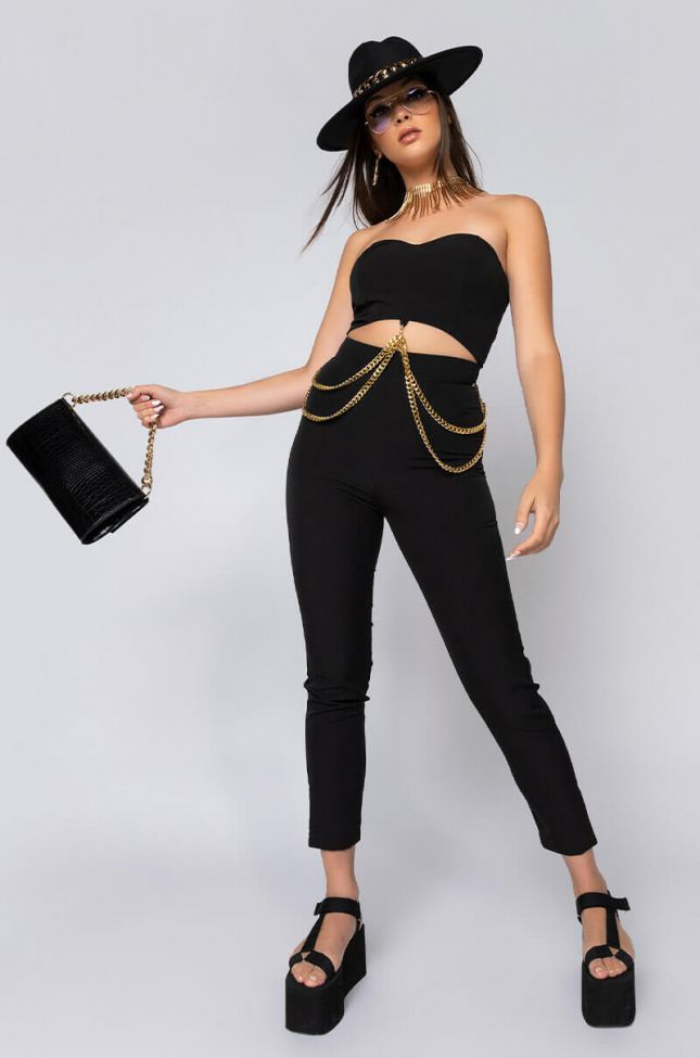Side View Dont Play With It Stay With It Slim Leg Strapless Jumpsuit in Black