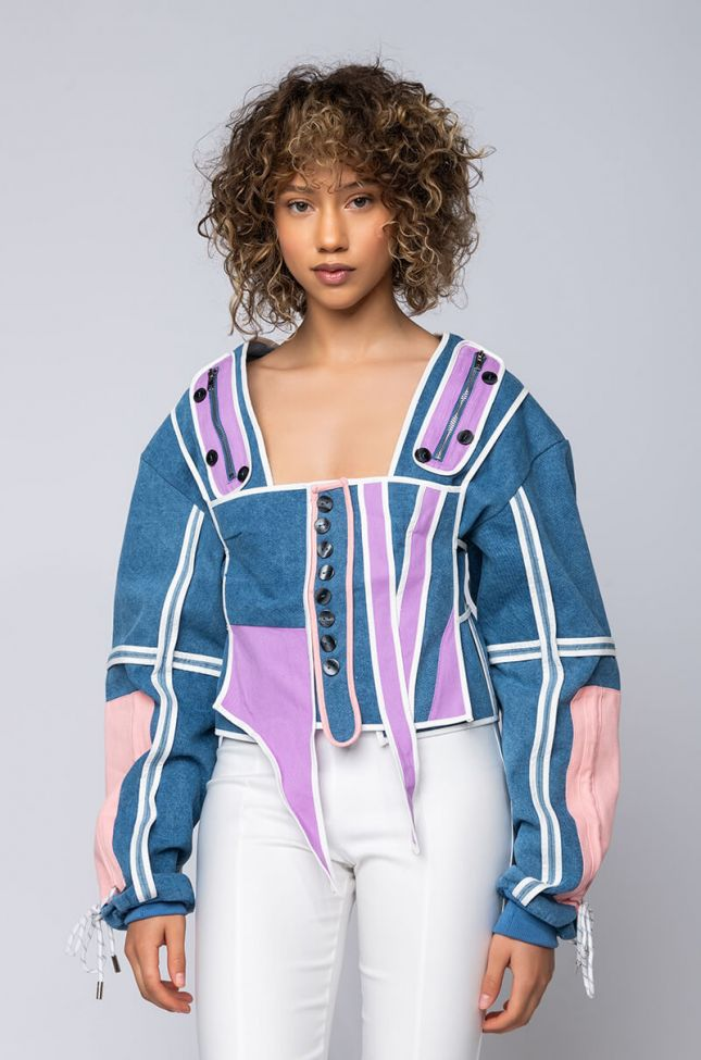 Side View Dont Slip On This Drip Corset With Jacket Set in Blue Multi