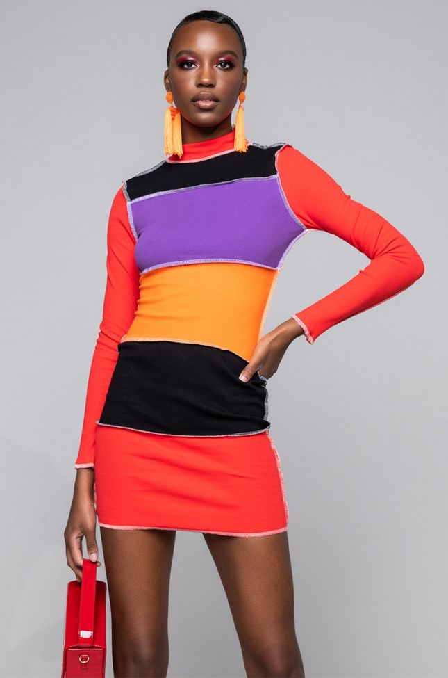 Front View Dont Stop Now Stitch Trim Mini Dress in Red Multi
