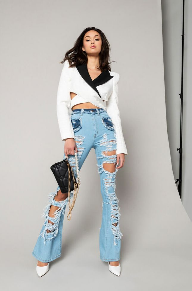 Dont Tempt Me Cropped Blazer With Boxy Shoulders in White Multi