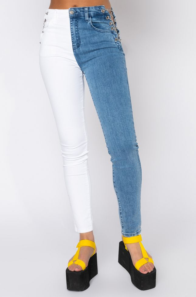 Front View Double Face Chain Skinny Jeans in Denim