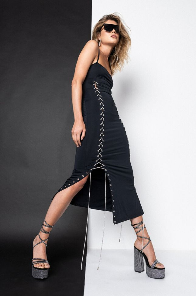 Front View Double Trouble Midi Dress in Black