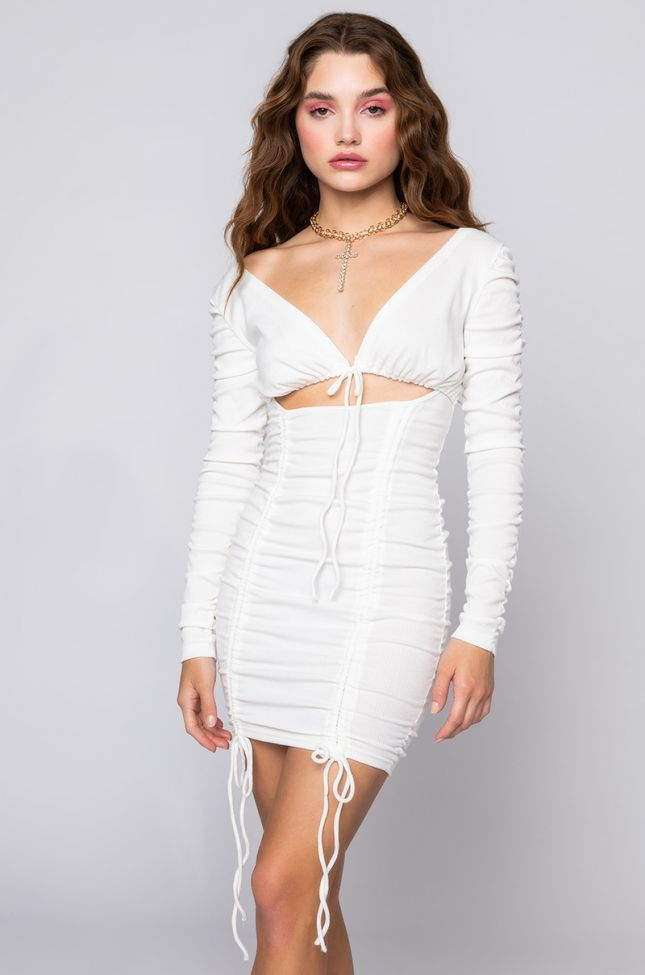 Front View Double Trouble Ruched Mini Dress in White