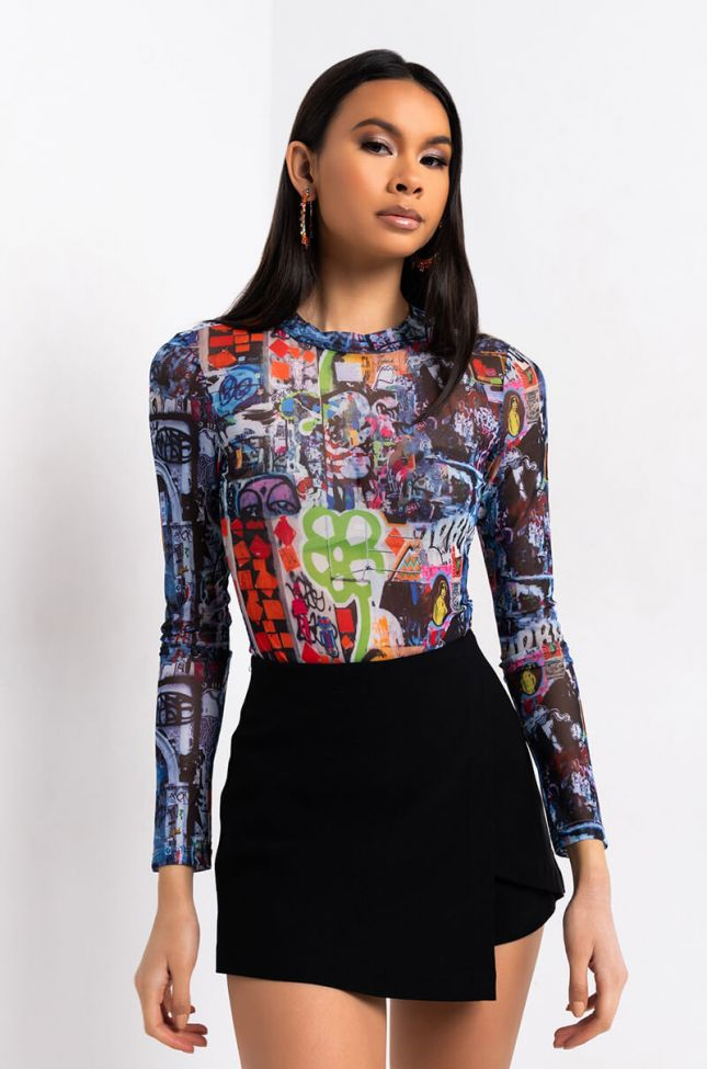 Front View Downtown Mesh Long Sleeve Bodysuit in Blue Multi
