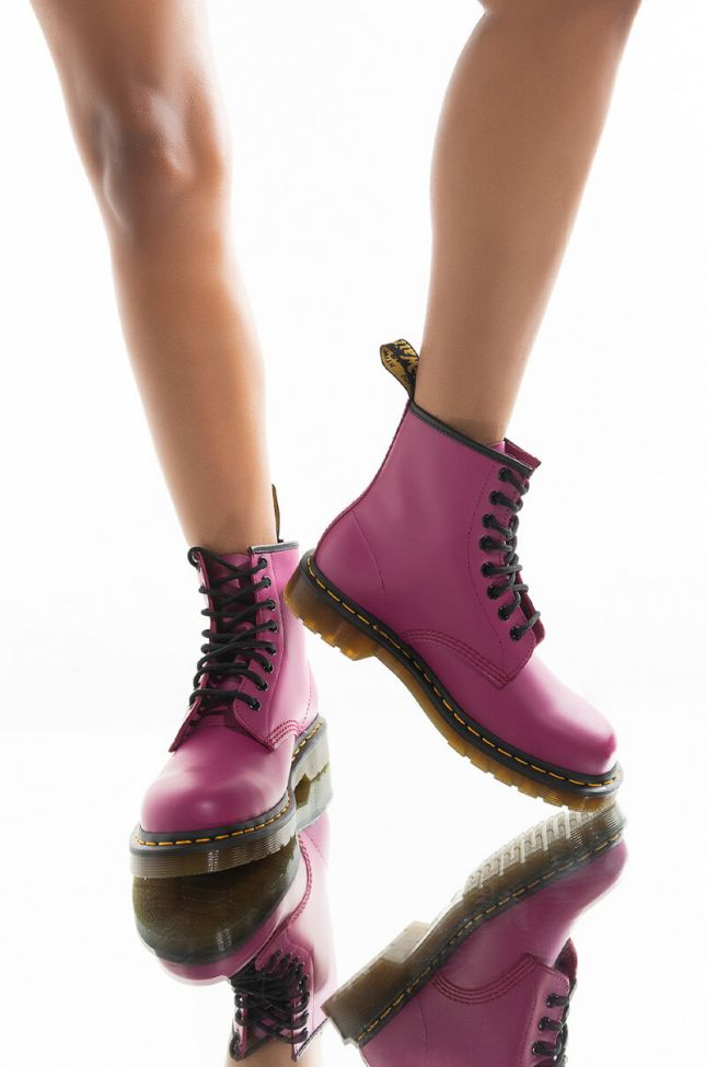 Front View Dr. Marten 1460 Fuchsia Smooth Boot