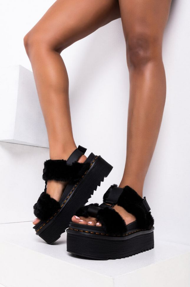 Front View Dr Martens Francis Fluffy Milo Fur & Hydro in Black