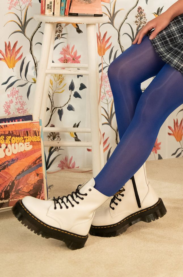 Front View Dr. Martens Jadon Polished Smooth Chunky Sole Bootie In White