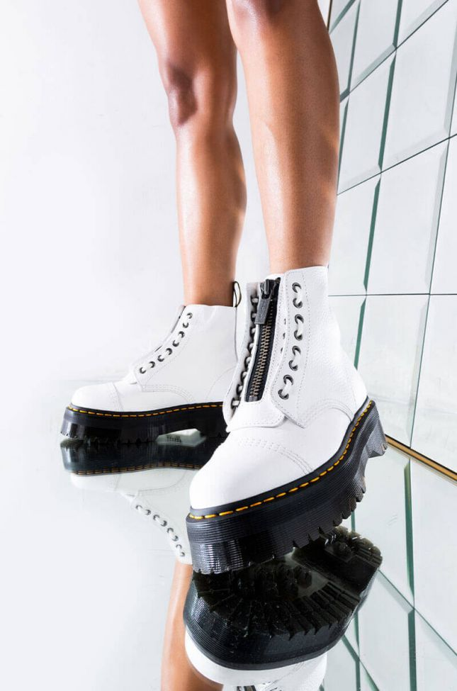 Front View Dr Martins Womens White Sinclair Platform Zipper Bootie in White