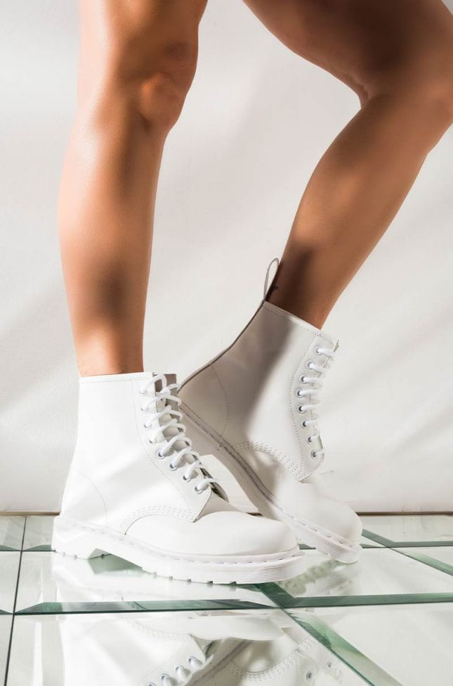 DR. MARTENS 1460 WHITE MONO SMOOTH ANKLE BOOTS