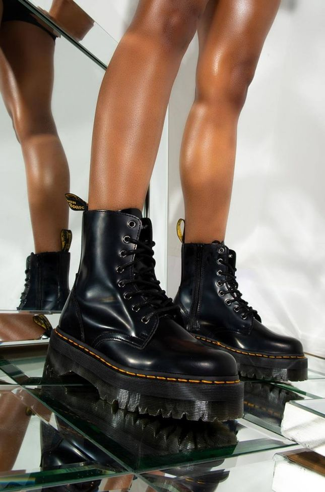 Front View Dr. Martens Jadon Polished Smooth Chunky Sole Bootie In Black in Black