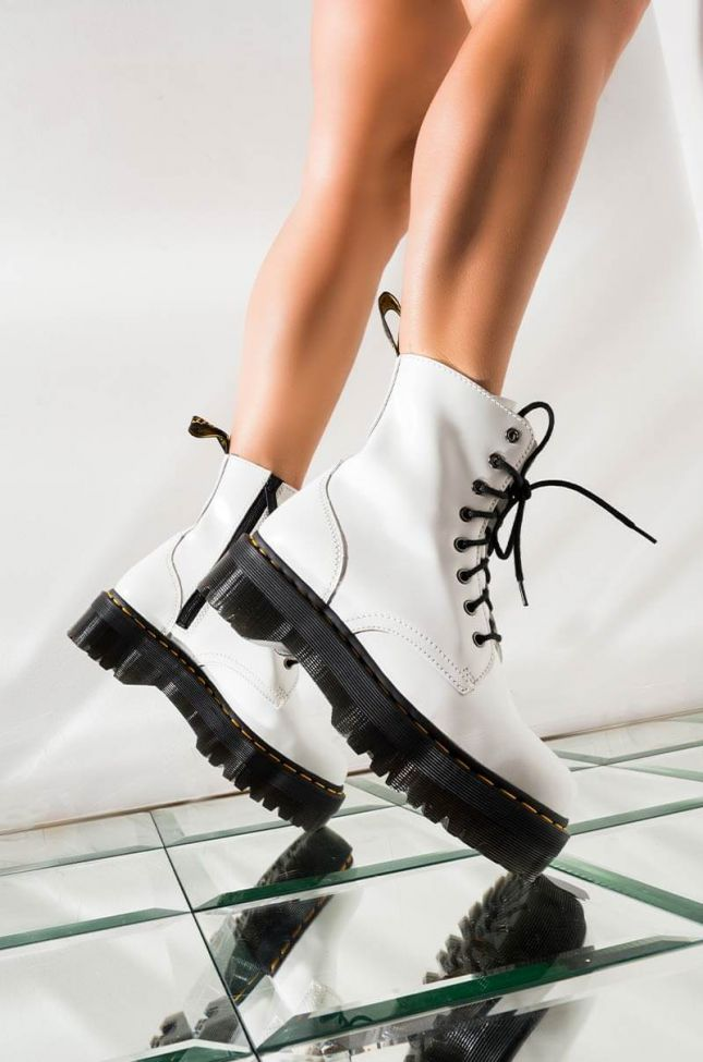 DR. MARTENS JADON POLISHED SMOOTH CHUNKY SOLE BOOTIE IN WHITE