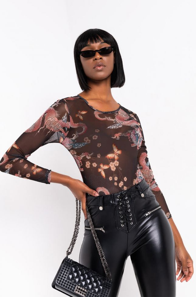 Front View Dragon Life Mesh Long Sleeve Top in Black Multi
