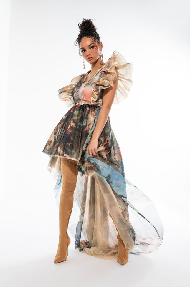 DRAMA QUEEN PRINTED MESH GOWN
