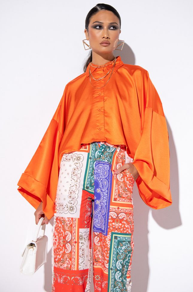 Front View Dream On Satin Blouse With Fashion Sleeves in Orange