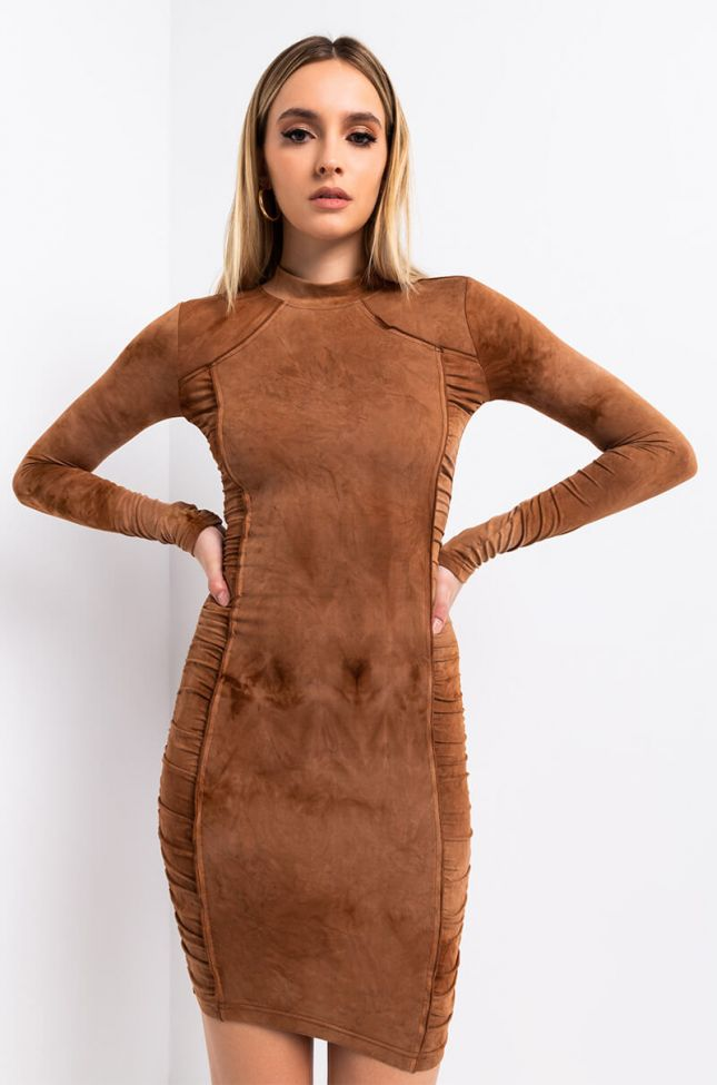 Front View Dream On Tie Dye Mini Dress in Brown