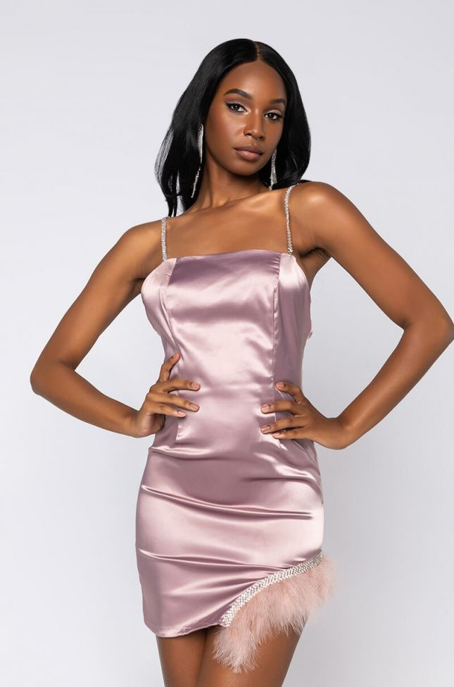 Front View Dreamer Mini Dress With Feather Trim in Light Brown
