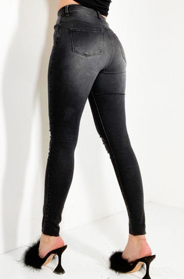 Side View Dreaming Again High Waist Skinny Denim Jeans in Black