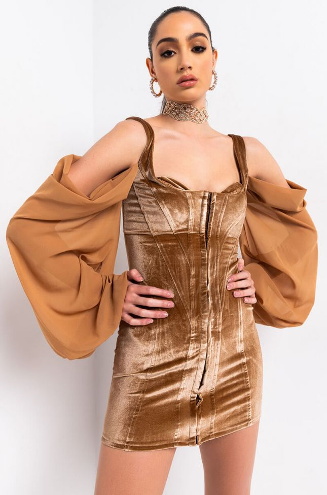 Front View Dreaming In Velvet Corset Mini Dress in Light Brown