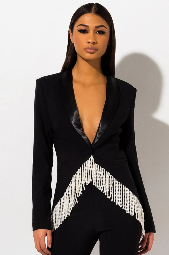 Front View Dreaming Of You Pearl Blazer in Black
