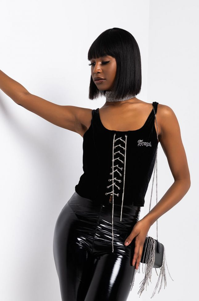 Front View Dreamland Lace Up Velvet Corset Top in Black