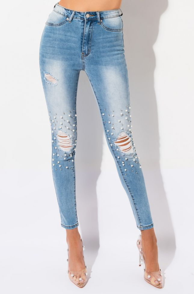 Front View Dreams Pearls High Waisted Skinny Jeans in Light Denim