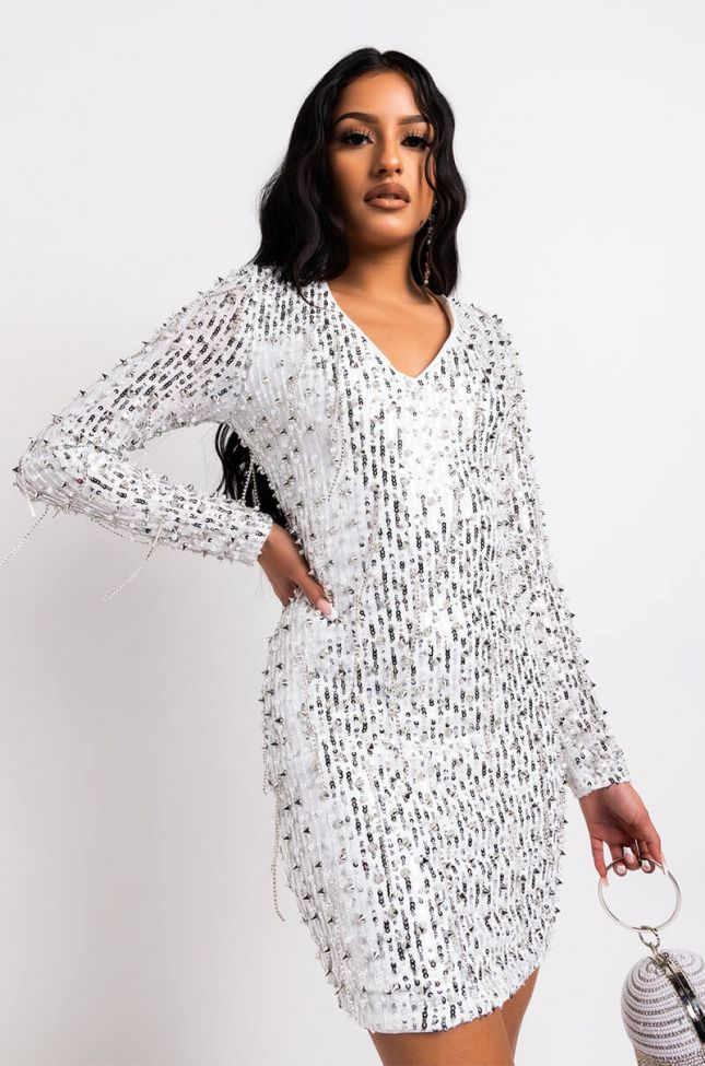 Front View Drippin In Ice Long Sleeve Studded Mini Dress in Ivory