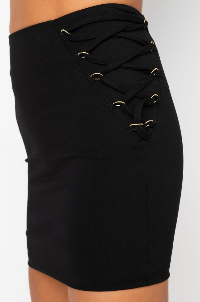 Detail View Dual Side Lace Up Mini Skirt in Black