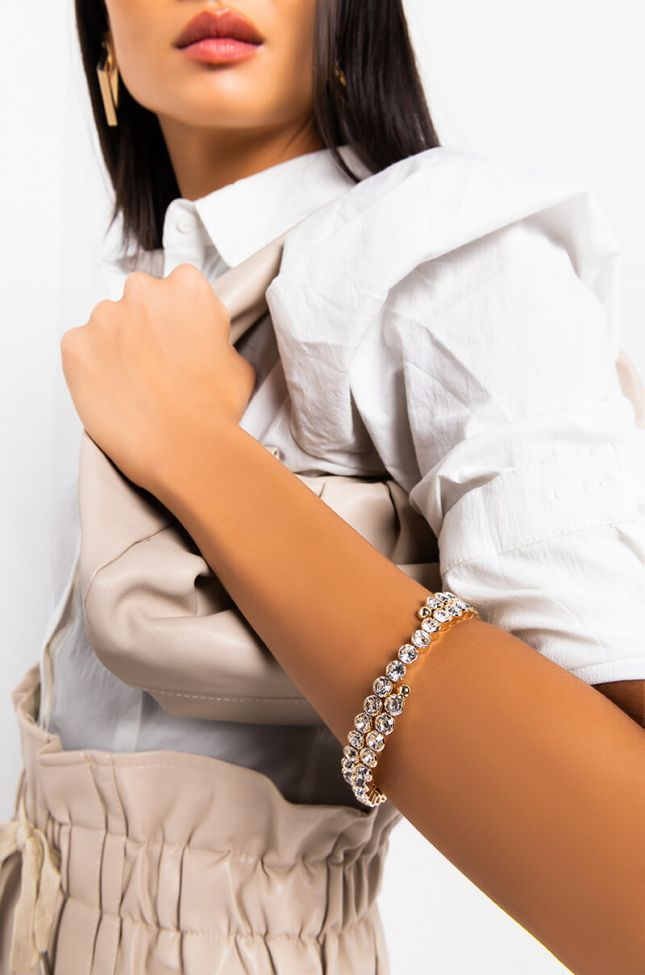 Front View Duality Rhinestone Cuff Bracelet in Gold