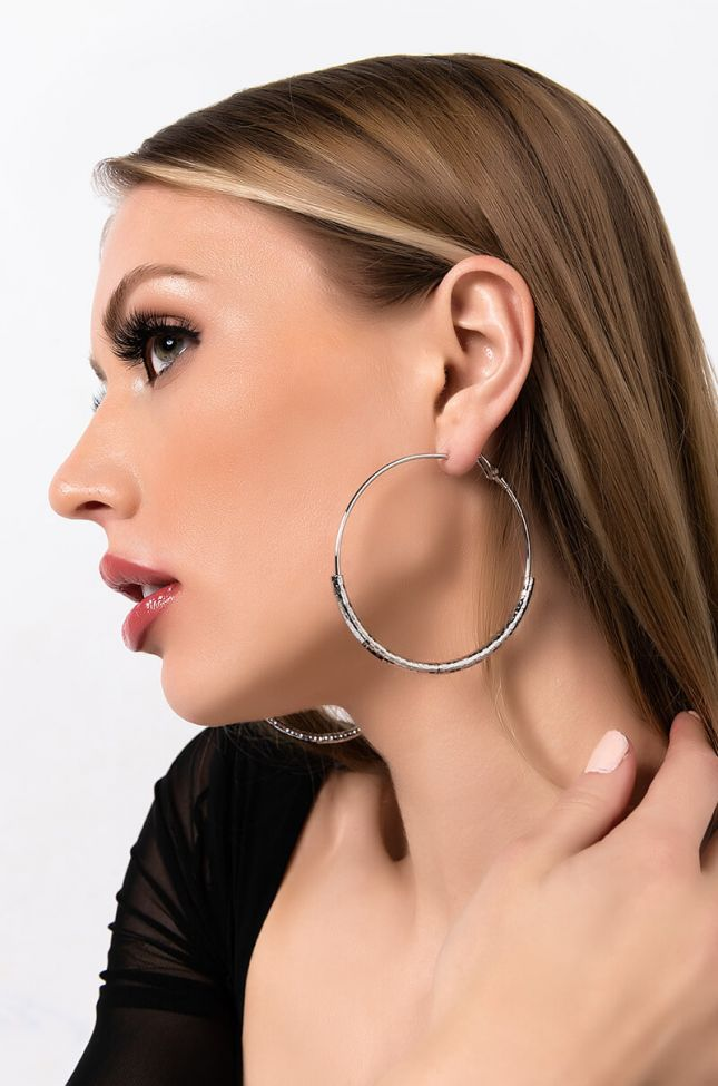 Front View Easy Rider Hoop Earring in Silver