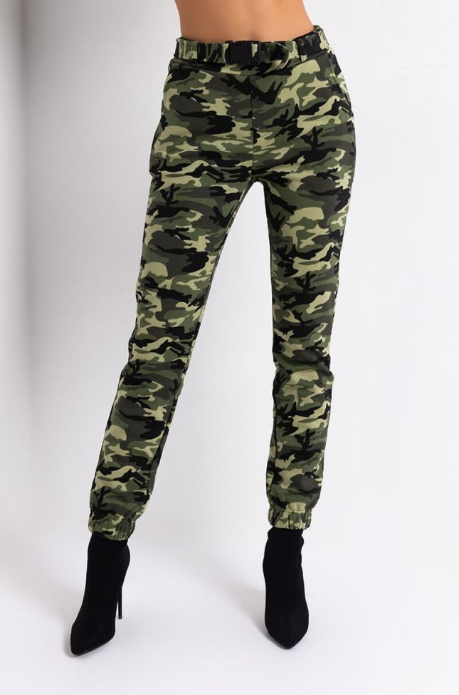 Front View Easy To Say Sweatpants in Green Camo