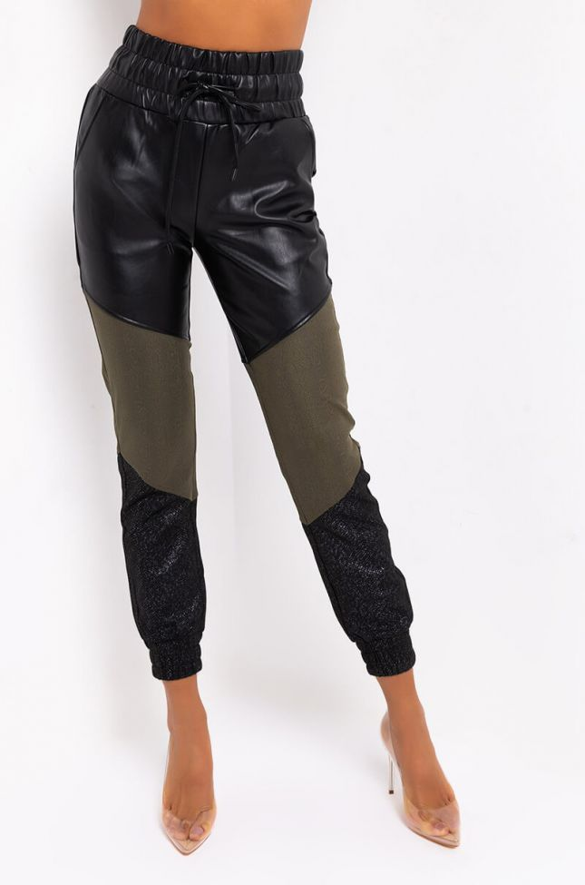 Front View Electric Faux Leather Joggers in Black Multi