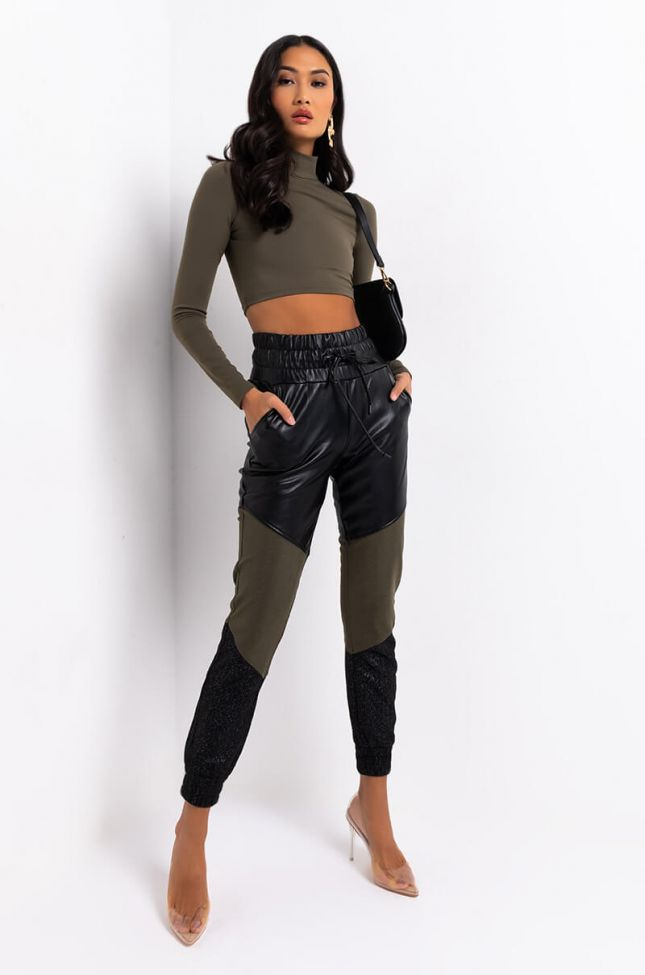 ELECTRIC FAUX LEATHER JOGGERS