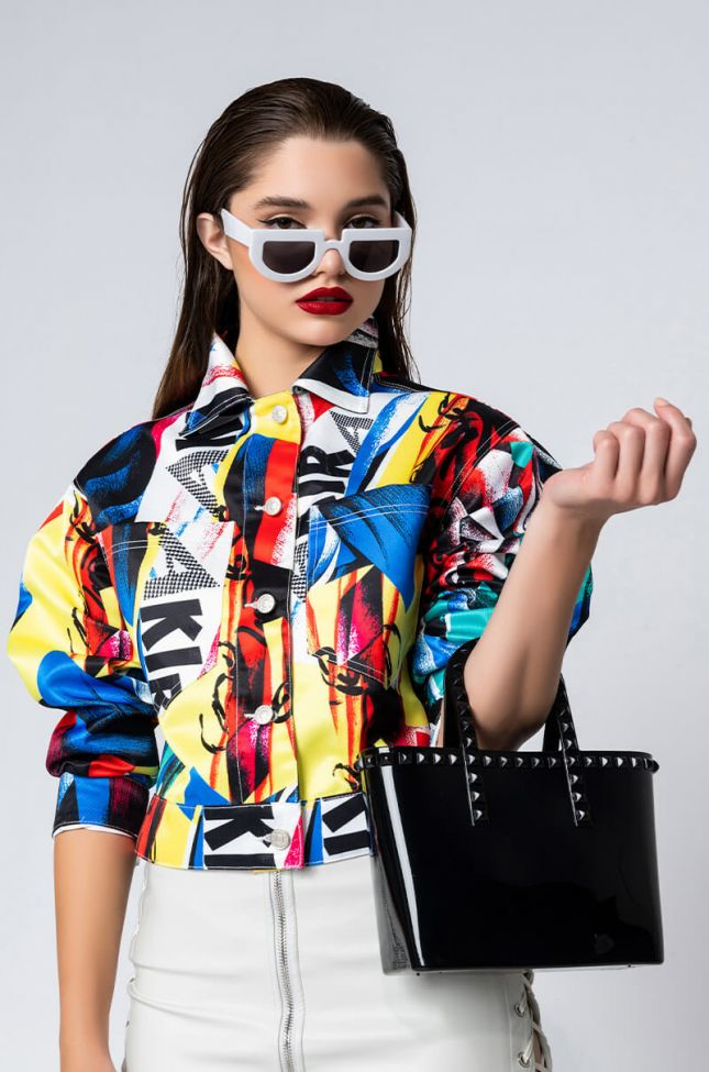 Front View Electric Soul Abstract Jacket in Multi