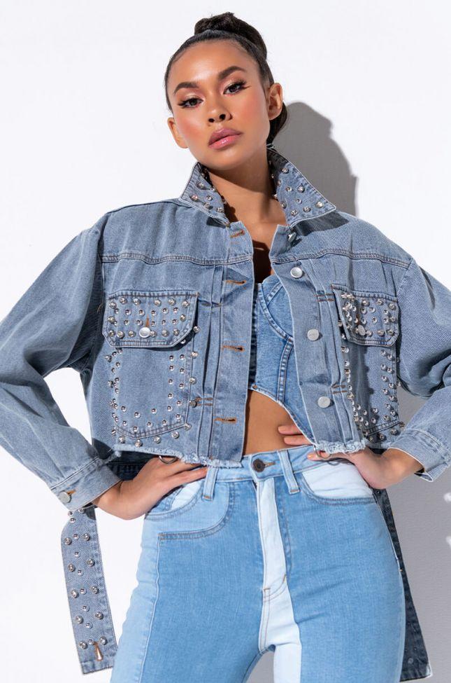 Front View Embellished Crop Denim Jacket in Light Blue Denim