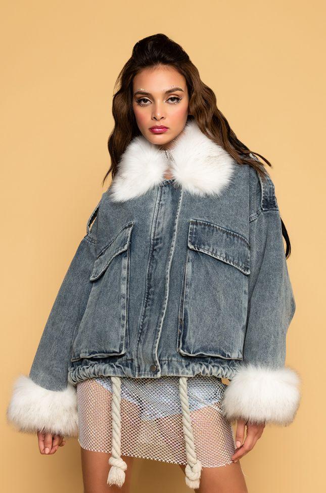 Side View Emrata Oversized Fur Trim Jacket in Light Blue Denim