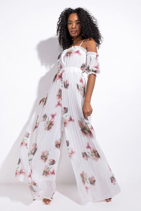 Front View Endless Floral Off The Shoulders Pleated Jumpsuit