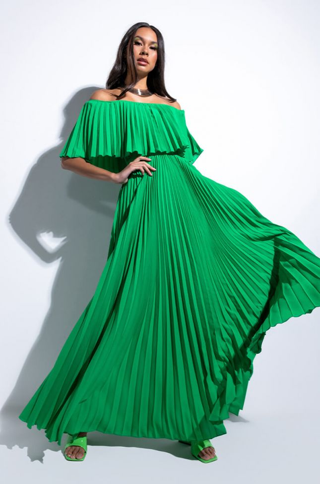 Front View Endless Love Pleated Maxi Dress