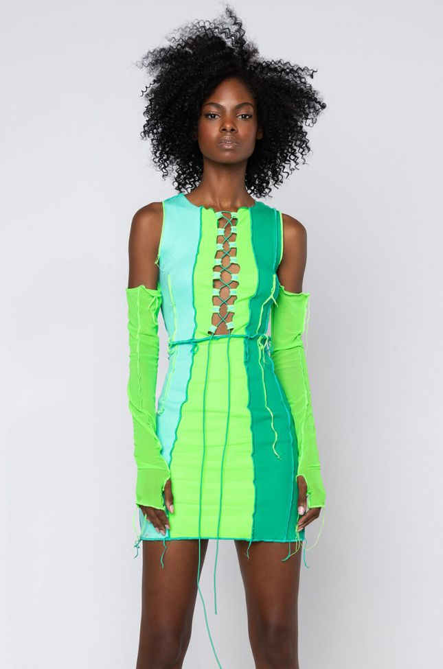 Front View Envy Me Contrast Stitch Dress Mini Dress in Neon Green