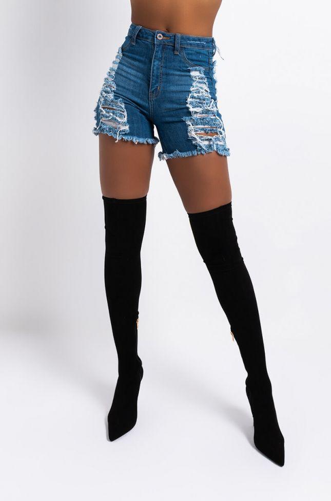 Front View Erie High Waisted Denim Shorts in Medium Blue Denim