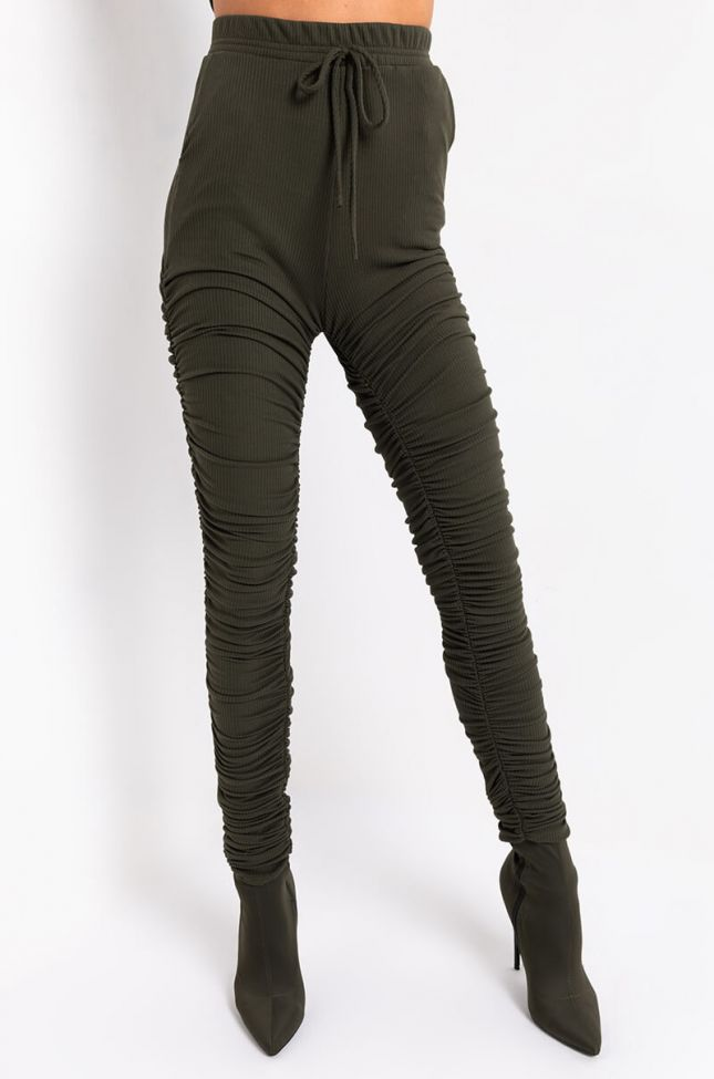 Front View Essential Af Ribbed Stacked Jogger in Olive