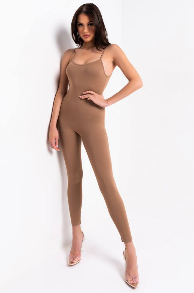 Front View Essential Seamless Playsuit in Mocha