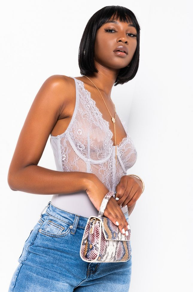 Front View Eve Sexy Lounge Lace Bodysuit in Grey