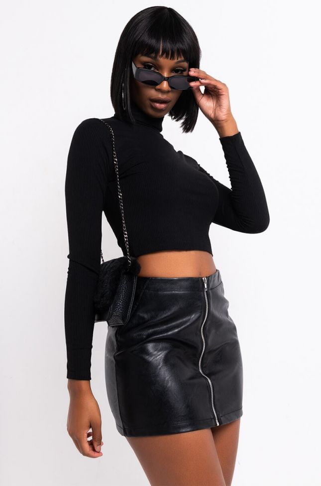 Front View Every Day On The Run Long Sleeve Collared Crop Top in Black