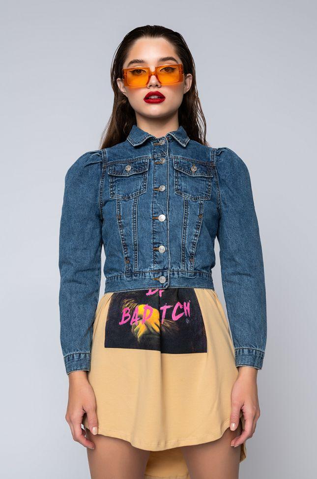 Front View Everyday Cutie Puff Sleeve Denim Jacket in Medium Blue Denim