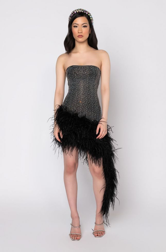 Front View Everydays My Birthday Dress With Feather in Black