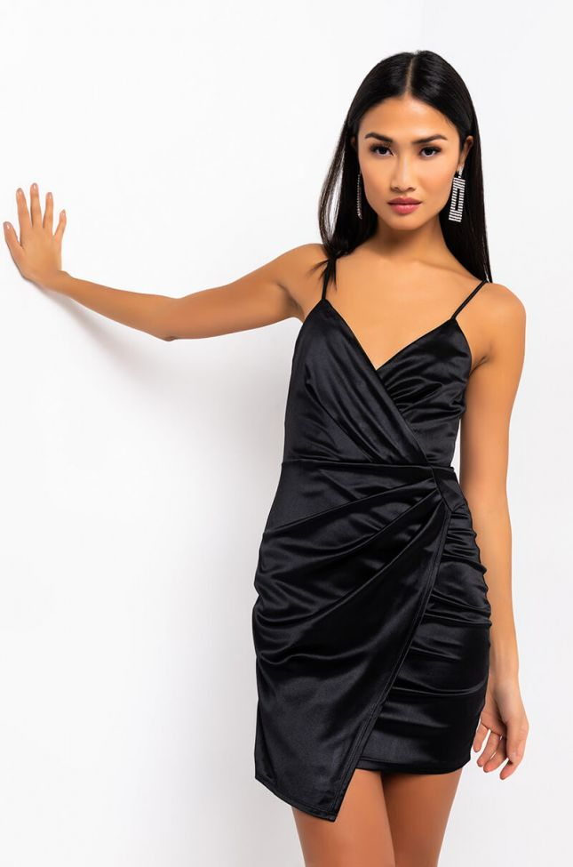 Front View Everything Wavy Mini Dress in Black