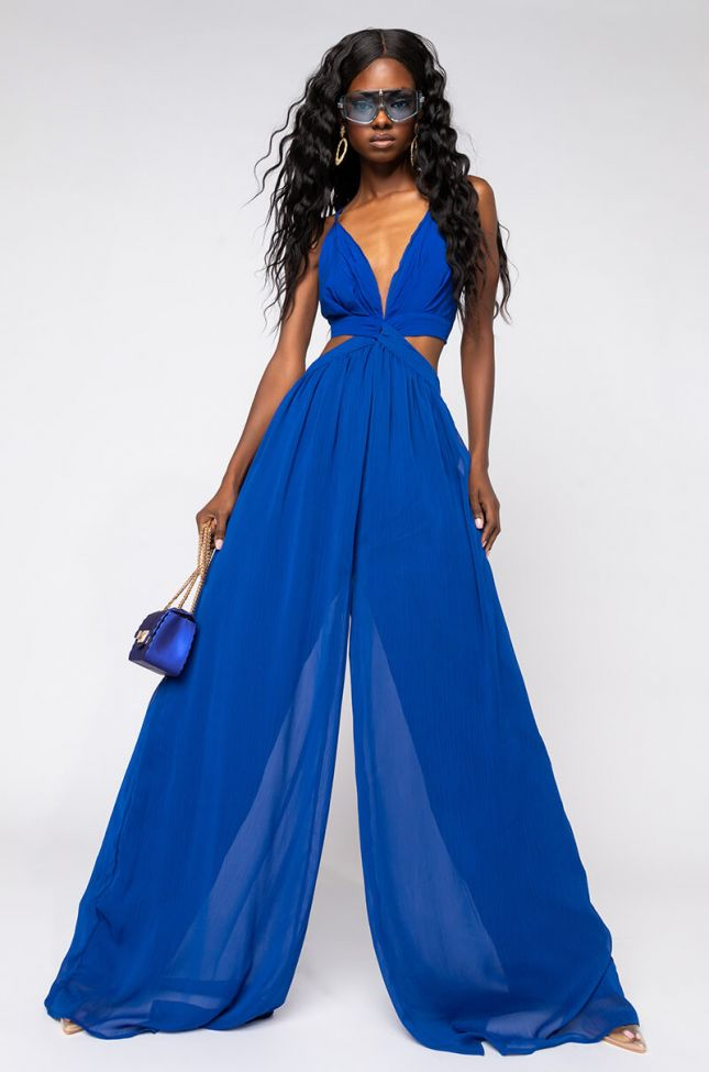 Front View Everything You Want Cut Out Jumpsuit in Blue