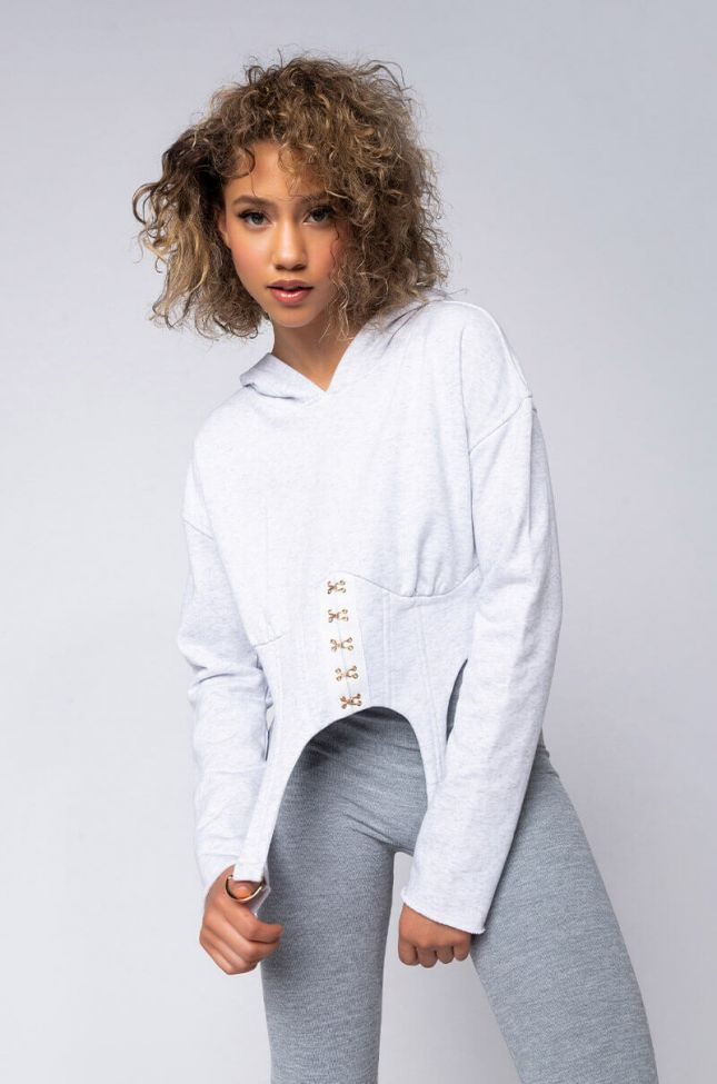 Front View Ex Marks The Thot Long Sleeve Corset Style Hoodie in Heather Grey