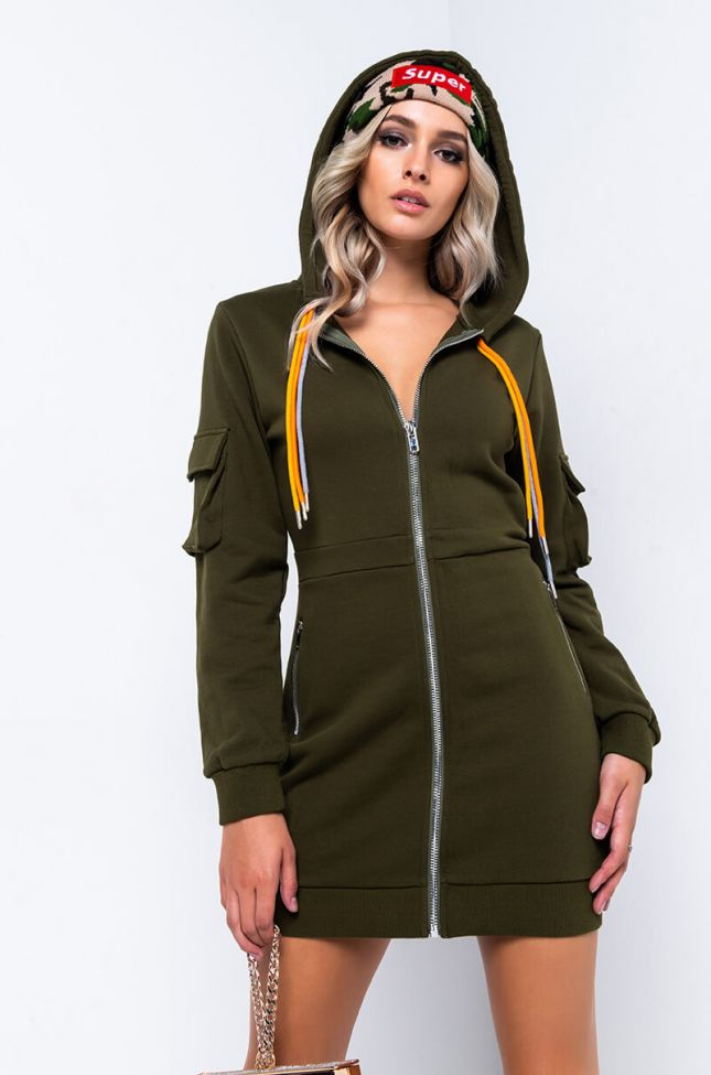 Side View Expensive Girl Long Sleeve Hooded Mini Dress in Olive