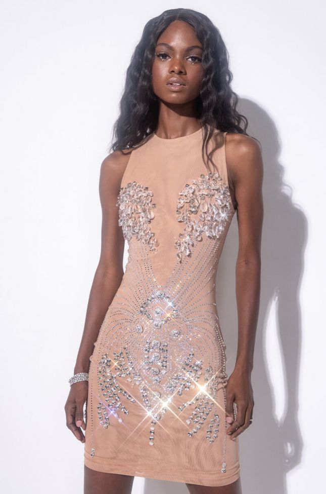 Front View Expensive Taste Mini Mesh Dress With Rhinestones